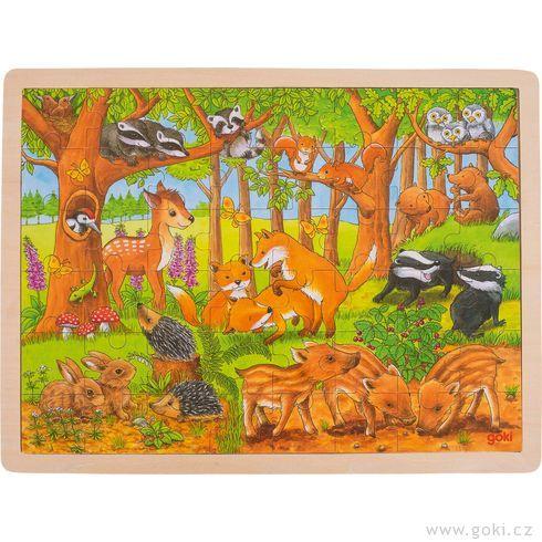Zvířecí děti vlese – dřevěné puzzle, 48dílů - Goki