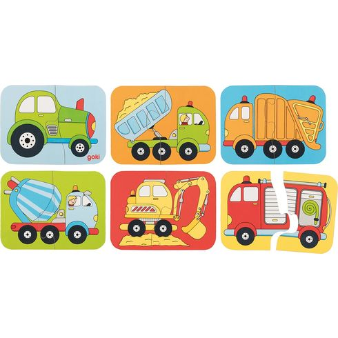 Minipuzzle dopravní prostředky, 12dílů - Goki