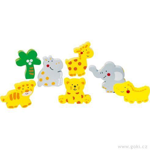 Dřevěné puzzle nadesce ikostky – Divoká zvířátka - Goki