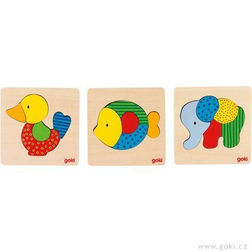 Dřevěné puzzle vrámečku – Kačenka, slon, rybka - Goki