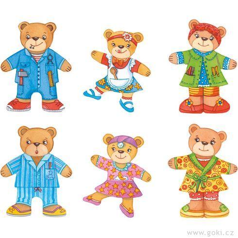 Rodina medvídci – oblékací puzzle zedřeva, 12motivů, 36dílů - Goki
