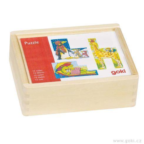 Neobyčejné kostky sezvířátky vdřevěné krabičce - Goki