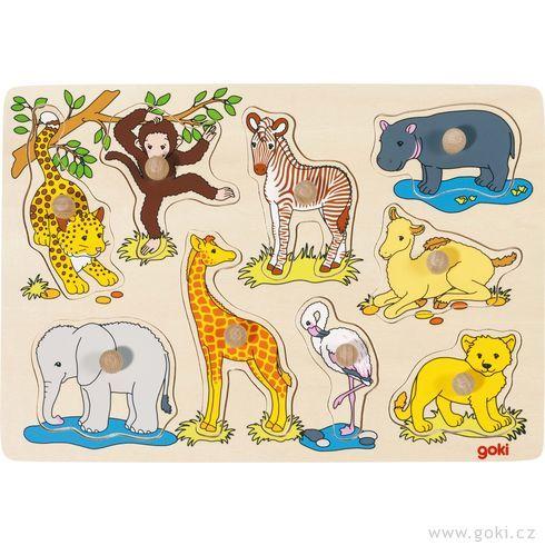 Puzzle sdřevěnými úchytkami – Africká zvířátka - Goki
