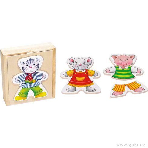 Puzzle – Šatní skříň zvířátka, 6motivů, 18dílů - Goki