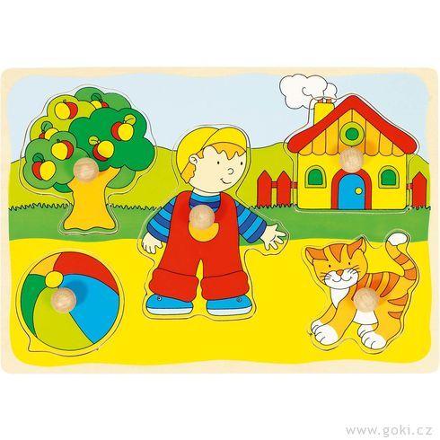 Puzzle sdřevěnými úchytkami – Dům, kočka, strom... - Goki