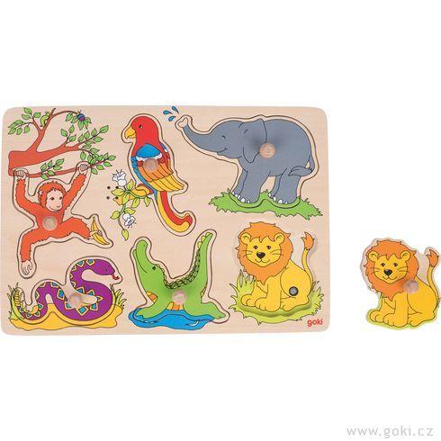 Dřevěné puzzle sezvukem – zvířátka zeZOO, 6dílů - Goki