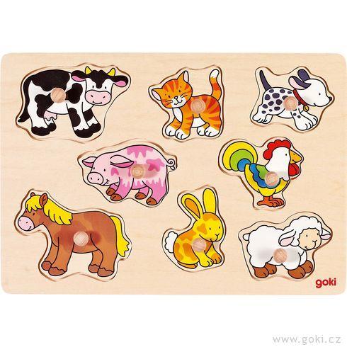 Puzzle sdřevěnými úchytkami – Zvířátka nastatku - Goki