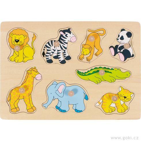 Puzzle sdřevěnými úchytkami – Zoo - Goki