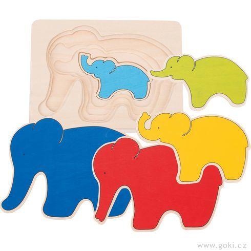 Vícevrstvé puzzle – Slon - Goki