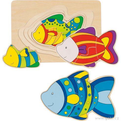 Vícevrstvé puzzle – Ryba, 11dílů - Goki