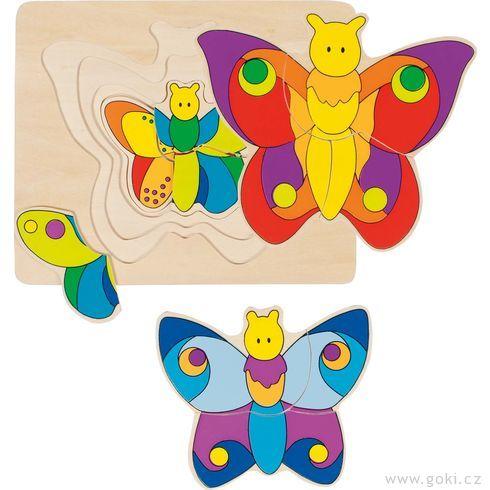 Vícevrstvé puzzle – Motýlek, 11dílů - Goki