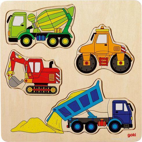 Dřevěné puzzle nadesce – Stavební auta - Goki