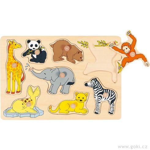 Puzzle sdřevěnými úchytkami – Mláďata zvířat III - Goki