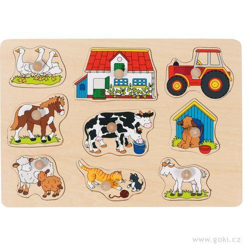 Puzzle sdřevěnými úchytkami – Zvířata nastatku II - Goki