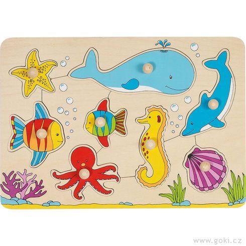 Puzzle sdřevěnými úchytkami – Podmořský svět - Goki