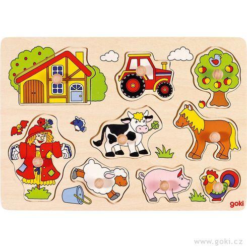 Puzzle sdřevěnými úchytkami – Zvířata nastatku IV - Goki