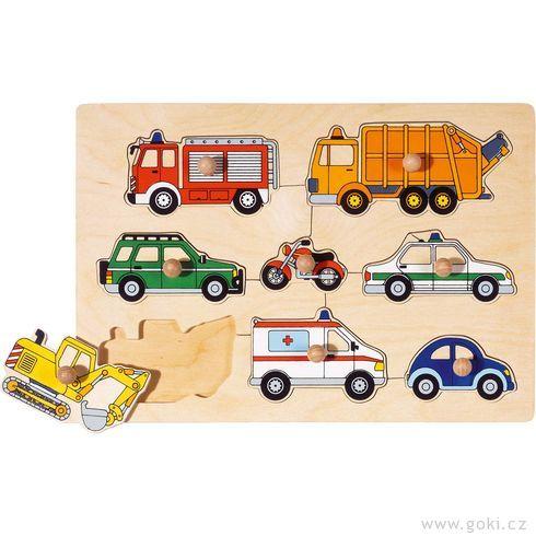 Puzzle sdřevěnými úchytkami – Dopravní prostředky - Goki