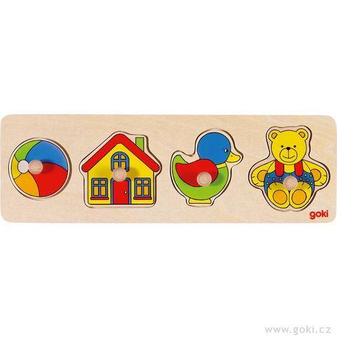 Puzzle sdřevěnými úchytkami – Hračky - Goki