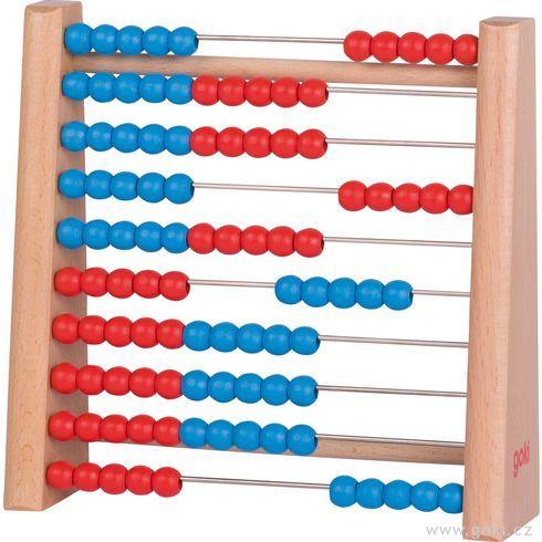 Počítadlo se100dřevěnými perličkami modrá ačervená - Goki