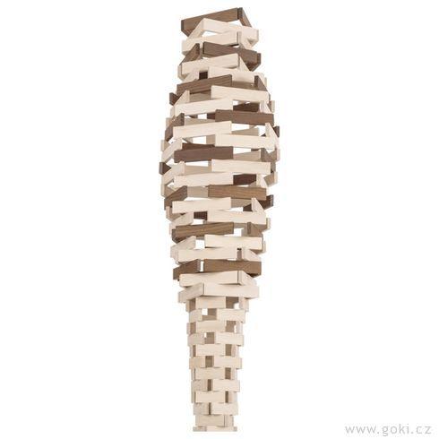 Stavební kostky přírodní dvoubarevné, 200ks - Goki