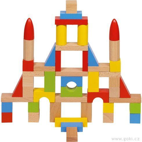 Stavební kostky zedřeva, přírodní ibarevné 50ks - Goki