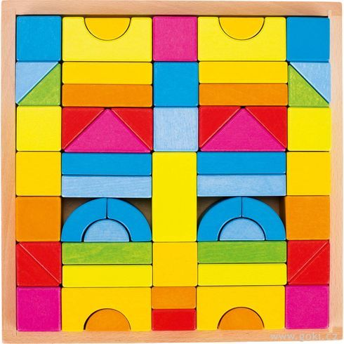Stavební kostky – Duhové barvy, 57dílů - Goki