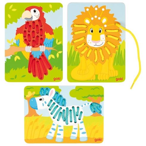 Provlékací motorická hračka – exotická zvířátka, 3díly - Goki
