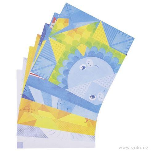 Skládačka zpapíru – origami zvířátka, 14ks - Goki