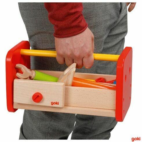Dřevěný stolek apřenosný boxsnářadím vjednom, 16dílů - Goki