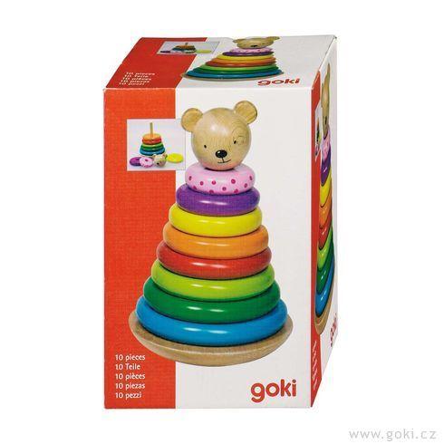 Dřevěný skládací houpací medvídek - Goki