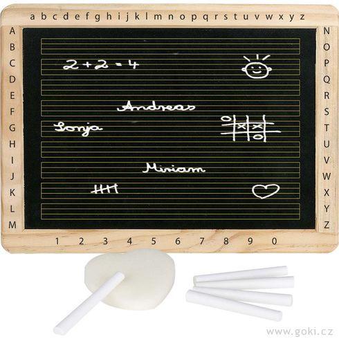 Tabule sdřevěným rámem, písmenky ačísly - Goki