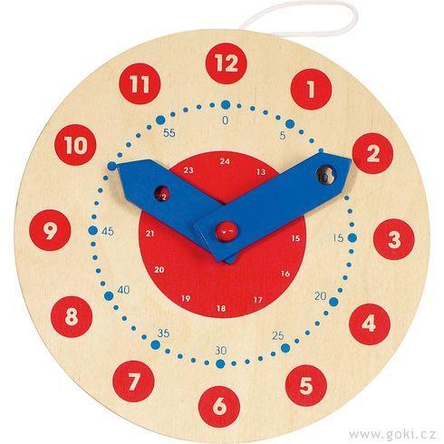 Dřevěné výukové hodiny, 18cm - Goki