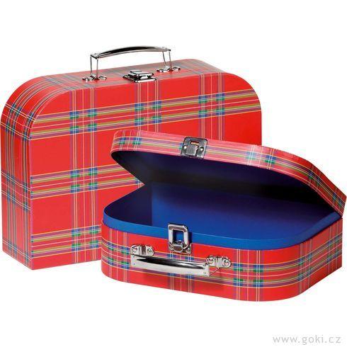 Sada 2dětských kufrů – červený skotský vzor - Goki