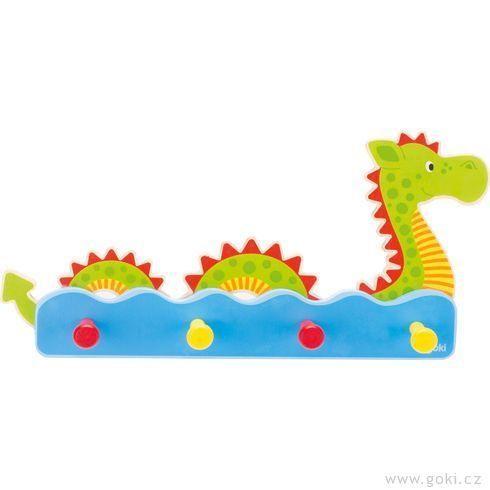 Dětský věšák zedřeva – vodní příšerka - Goki
