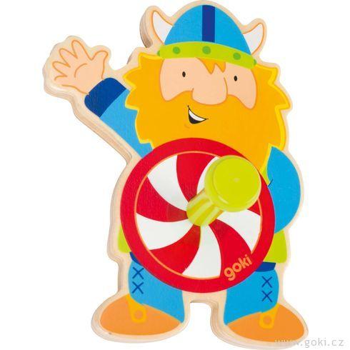 Dřevěný věšáček – viking - Goki