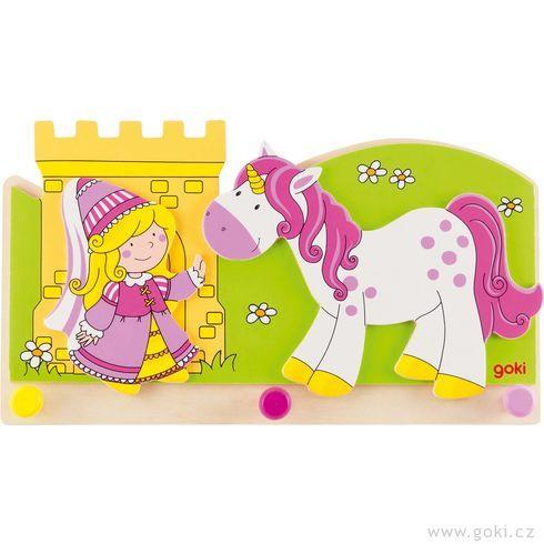 Dětský věšák zedřeva – malá princezna ajednorožec - Goki