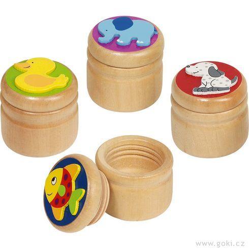 Dřevěná krabička naprvní zoubky – slůně, kačenka … - Goki