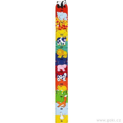 Dětský dřevěný metr – zvířátka, 100cm - Goki