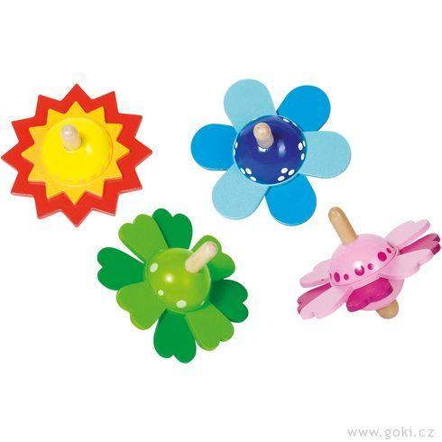 Dřevěná káča – Lístky květin - Goki