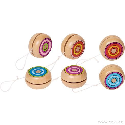 Dřevěné jojo – Barevné kroužky, 4,8cm - Goki