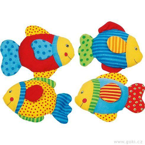 Rybka sešuštící fólií, textilní hračka promiminka - Goki