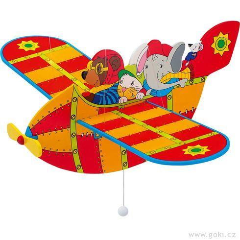 Dřevěné létající letadlo červené – létající závěsná dekorace - Goki