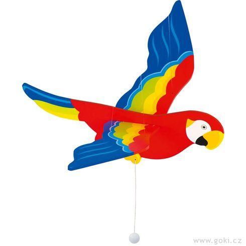Dřevěný létající papoušek menší – létající závěsná dekorace - Goki