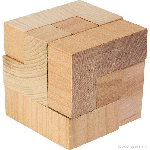 Dřevěný hlavolam – Kostka 3D - Goki