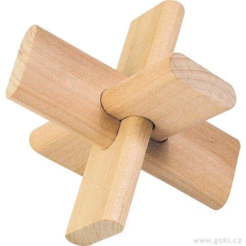 Dřevěný hlavolam – Kříž - Goki
