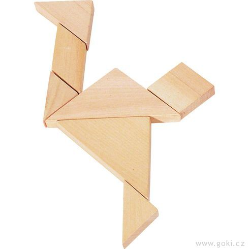 Dřevěný hlavolam – Tangram - Goki