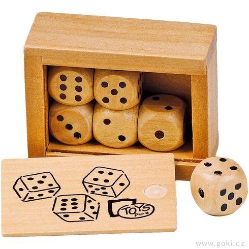Stolní hra– Hrací kostky vdřevěné krabičce - Goki