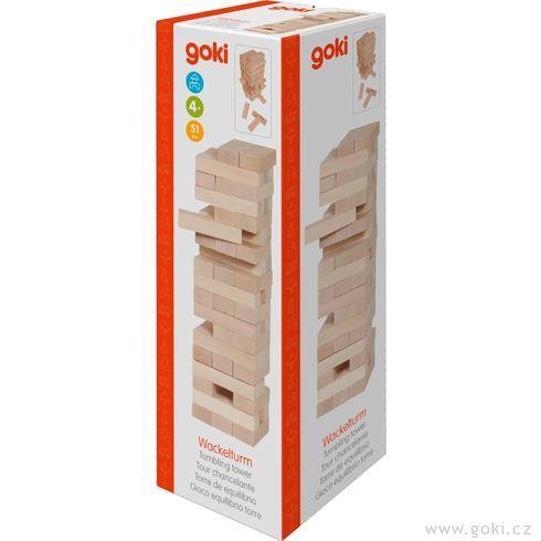 Zábavná hra– Dřevěná věž Jenga natur ,51dílů - Goki