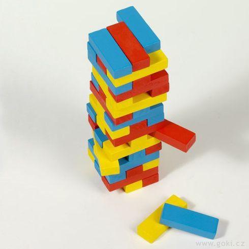 Zábavná hra– Vratká věž Jenga barevná, 45dílů - Goki