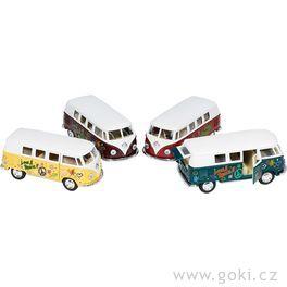 Volkswagen Classic Bus(1962), autobus klasik spotiskem, zpětné natahování, měřítko 1:32